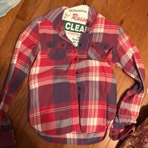 vintage red white and blue flannel